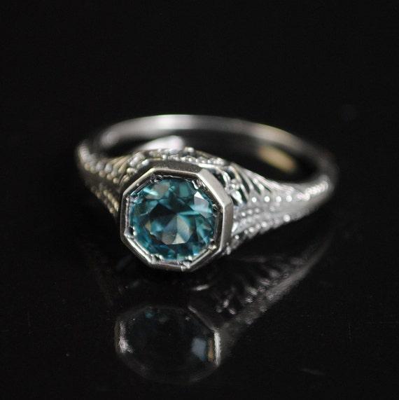 Sterling Silver Aquamarine Victorian Ring Sz 7  #11657