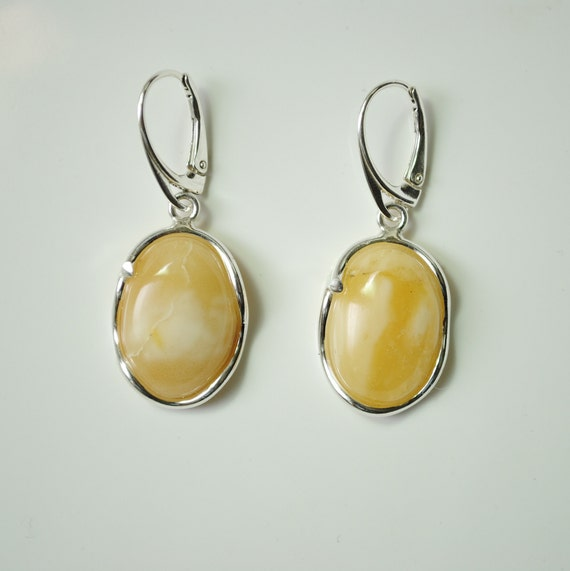 Sterling Silver Butterscotch Amber Earrings #11919