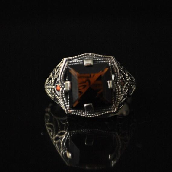 Sterling Silver Smoky Topaz Opal Ring Sz 6  #10322