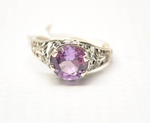 Sterling Silver Antique Style Art Deco Alexandrite Ring Sz 6  #7934