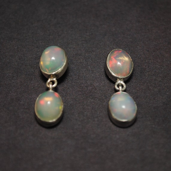 Sterling Silver Opal 4 Stone Stud Earrings #13805