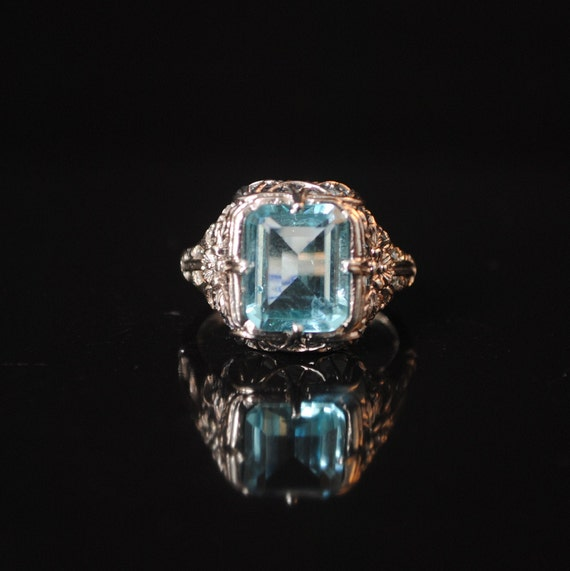 Sterling Silver Aquamarine Art Nouveau Ring Sz 6  #13330