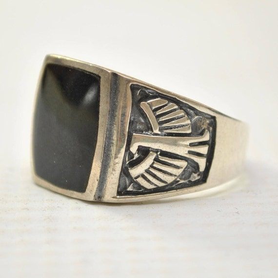 Onyx Curved Square Phoenix Bird in Sterling Silver Ring Sz 10 #12529