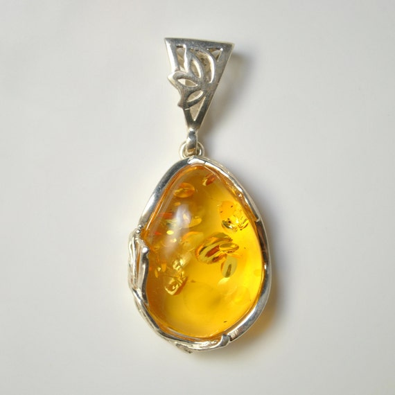 Sterling Silver Honey Amber Pendant #10468