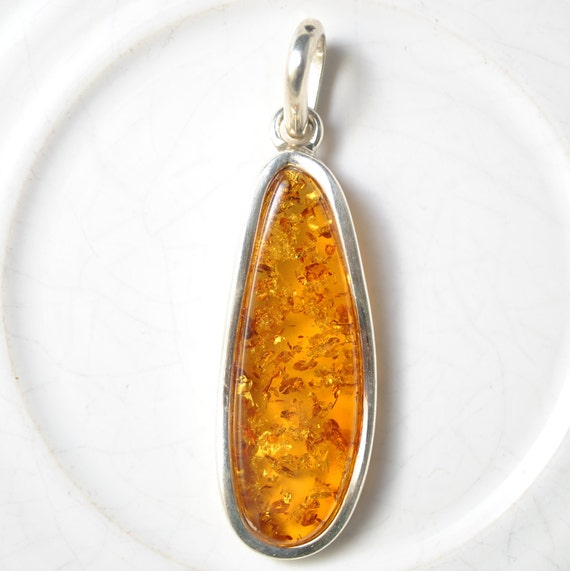 Sterling Silver Honey Amber Pendant #10466