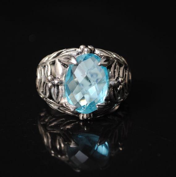 Sterling Silver Blue Topaz Art Deco Ring Sz 7 #11088