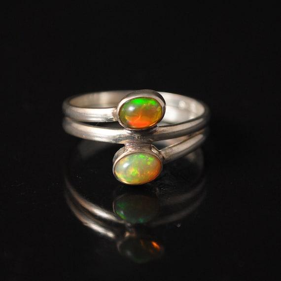 Sterling Silver 2 Stone Ethiopian Opal Ring Sz 8.5 #11211