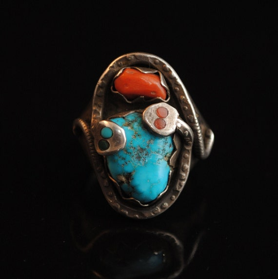 Sterling Silver Native American Navajo Turquoise Coral Snake Ring Sz 12 #12566