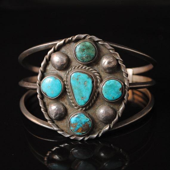 Native American Navajo 5 Stone Turquoise Cuff #13071