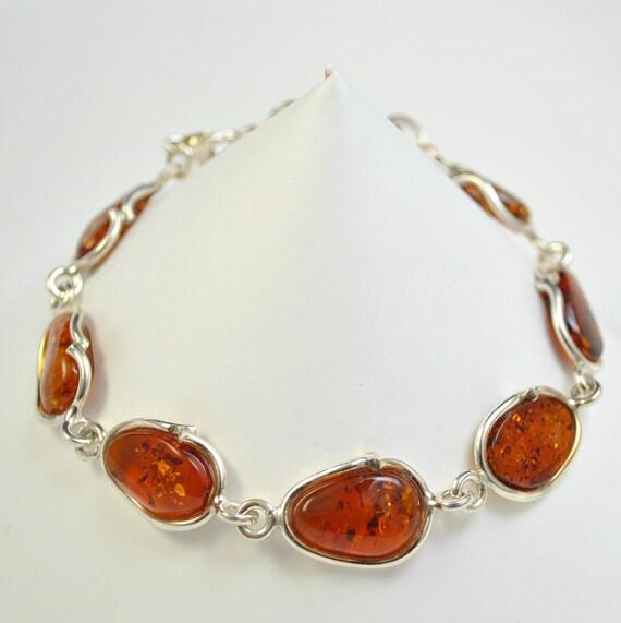 Sterling Silver Honey Amber Bracelet #10450