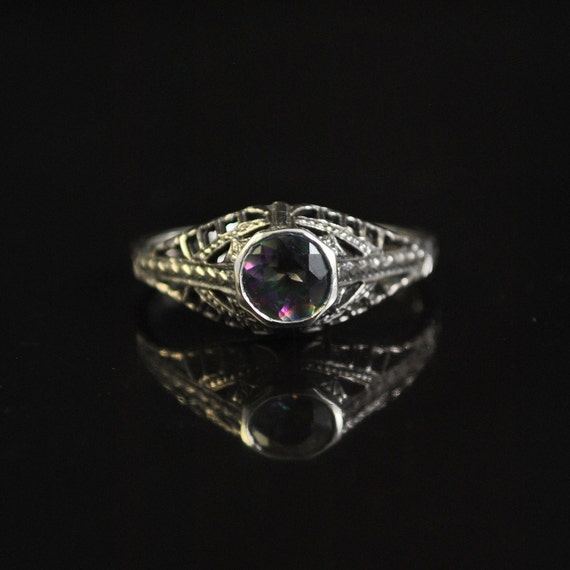 Sterling Silver Rainbow Topaz Victorian Ring Sz 7  #11436