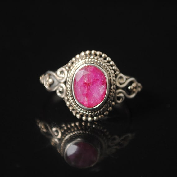 Sterling Silver Ruby Oval Art Deco Ring Sz 7.5 #13180