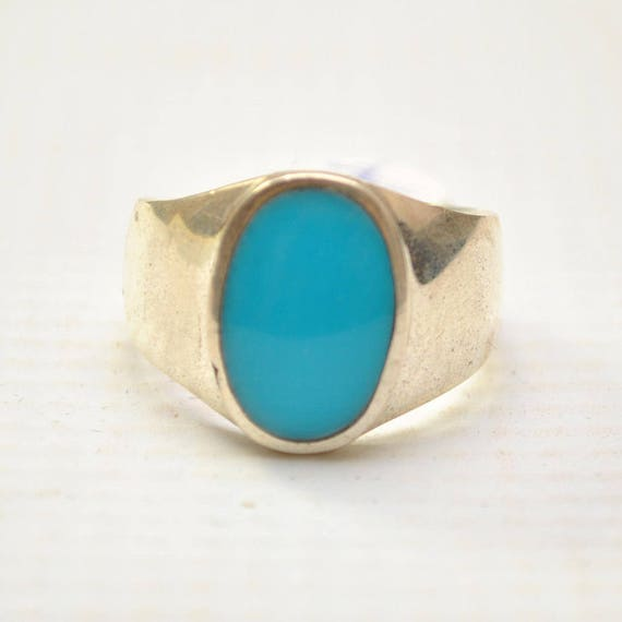 Arizona Blue Turquoise Oval Stone in Plain Sterling Silver Ring Sz 11 #8732