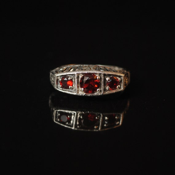 Sterling Silver Fire Garnet Art Nouveau Ring Sz 6 #13348
