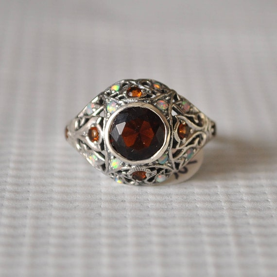Sterling Silver Fire Garnet Fire Opal Art Deco Ring Sz 7 #9807