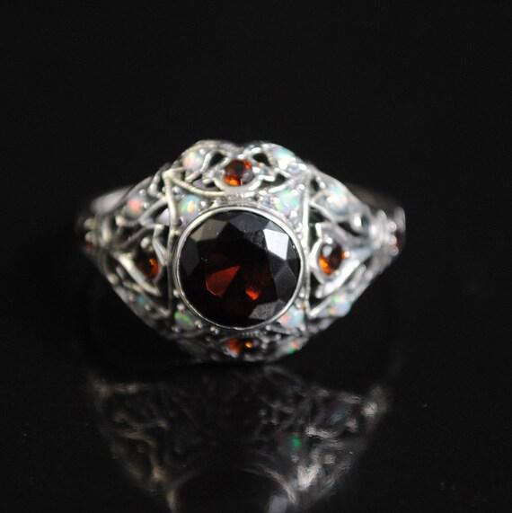Sterling Silver Fire Garnet Opal Art Deco Ring Sz 8 #11662