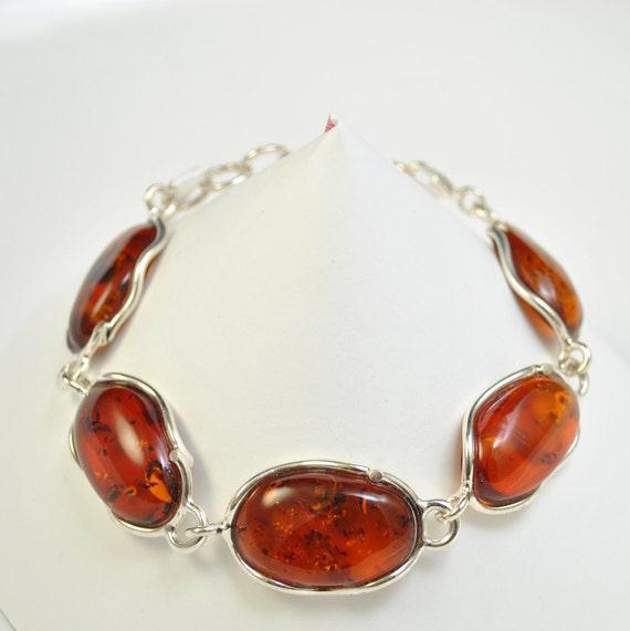 Sterling Silver Honey Amber Bracelet #10454