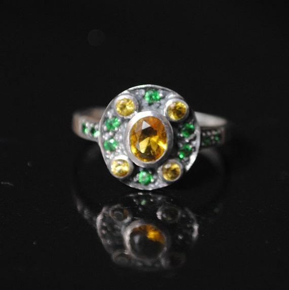 Sterling Silver Citrine Art Nouveau Ring Sz 6 #9698