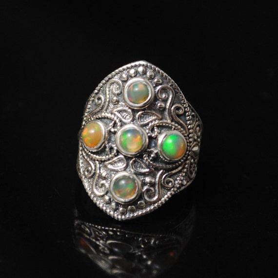 Sterling Silver Ethiopian Opal Ring Sz 8 #11198