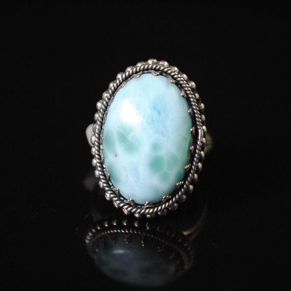 Sterling Silver Larimar Fancy Edge Ring Sz 8  #11137