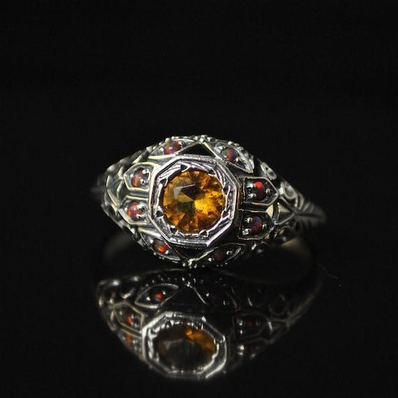 Sterling Silver Citrine Opal Art Nouveau Ring Sz 9 #10331
