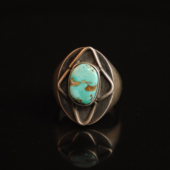 Sterling Silver Native American Navajo Turquoise Ring Sz 9.5 #13283A