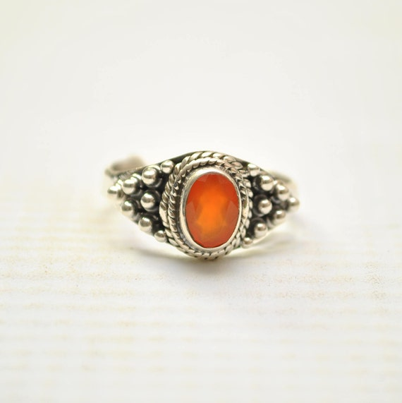 Sterling Silver Carnelian Ring Sz 7.5 #9254