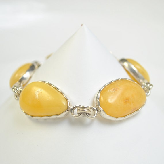 Sterling Silver Butterscotch Amber Bracelet #10457