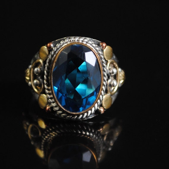 Sterling Silver Blue Topaz Ring Sz 8.25 #11679