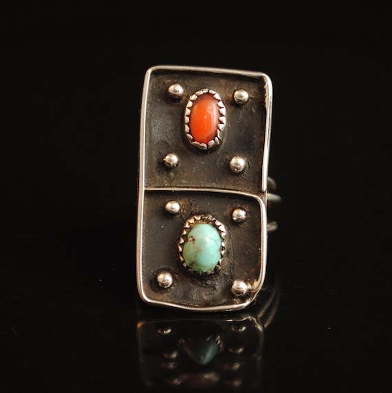 Sterling Silver Native American Navajo Turquoise Coral Ring Sz 9 #4087