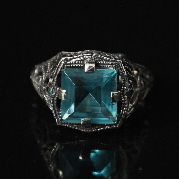 Sterling Silver Aquamarine Opal Art Deco Ring Sz 8  #10132