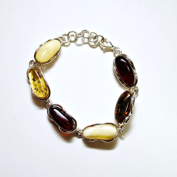 Sterling Silver Multi Color Amber Bracelet #10793
