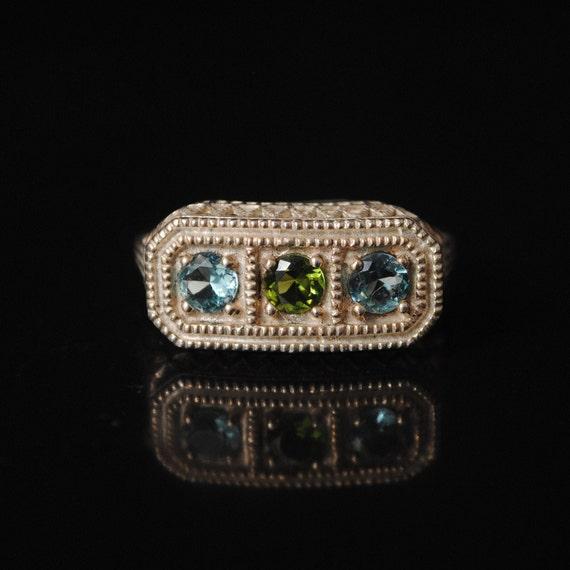 Sterling Silver Aquamarine Peridot Edwardian Ring Sz 6 #8442