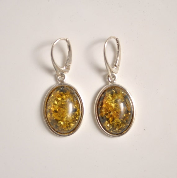 Sterling Silver Green Amber Lever Back Earrings #11325