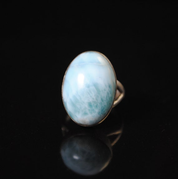 Sterling Silver Larimar Oval Ring Sz 8  #11874