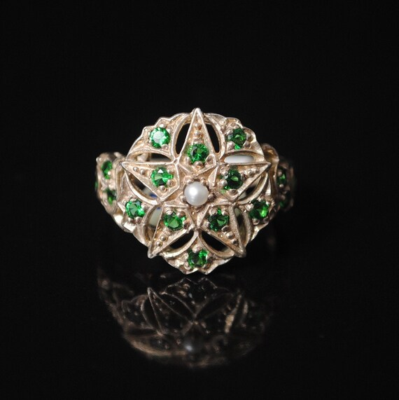 Sterling Silver Emerald Pearl Art Deco Ring Sz 7 #7520