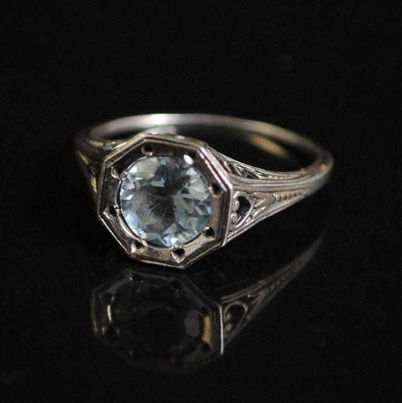 Sterling Silver Aquamarine Art Nouveau Ring Sz 8  #11688
