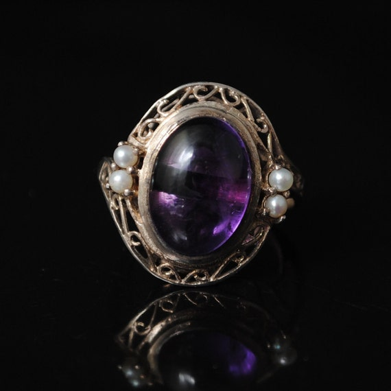 Sterling Silver Antique Style Amethyst Pearl Art Deco Ring Sz 6 #6800
