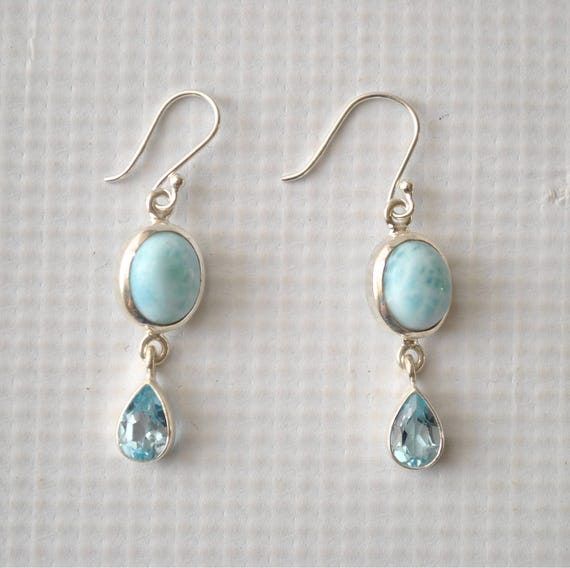 Sterling Silver Larimar Topaz Oval Earrings #9191