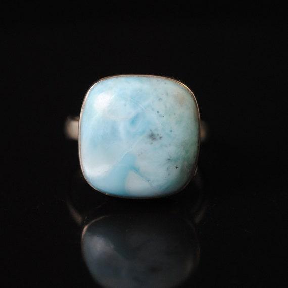 Sterling Silver Larimar Ring Sz 9  #10715