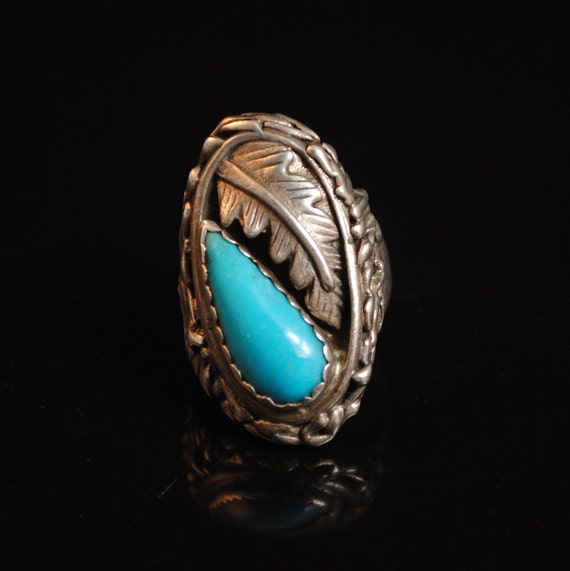 Sterling Silver Native American Navajo Turquoise Ring Sz 12 #12570