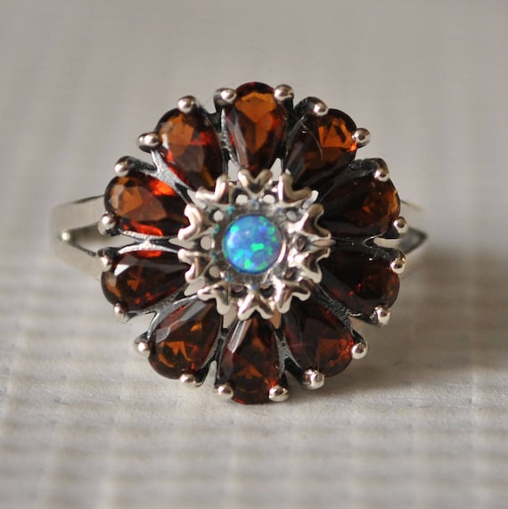 Sterling Silver Fire Garnet Opal Art Deco Ring Sz 7 #9856