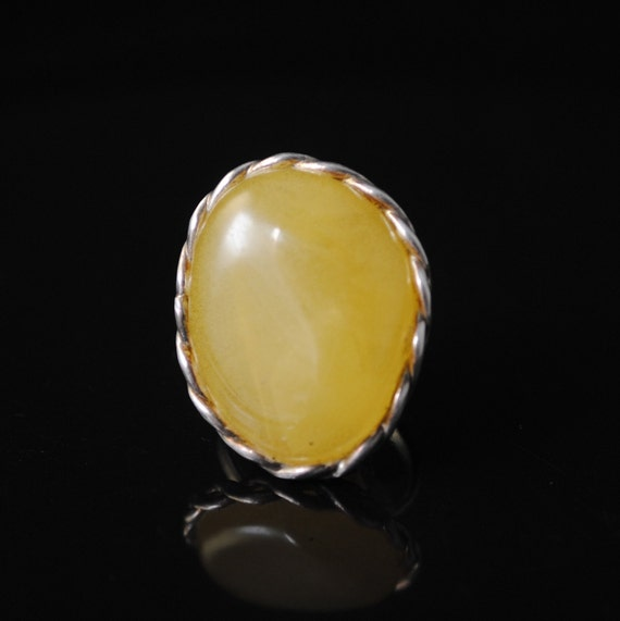 Sterling Silver Butterscotch Amber Ajustable Ring #10803