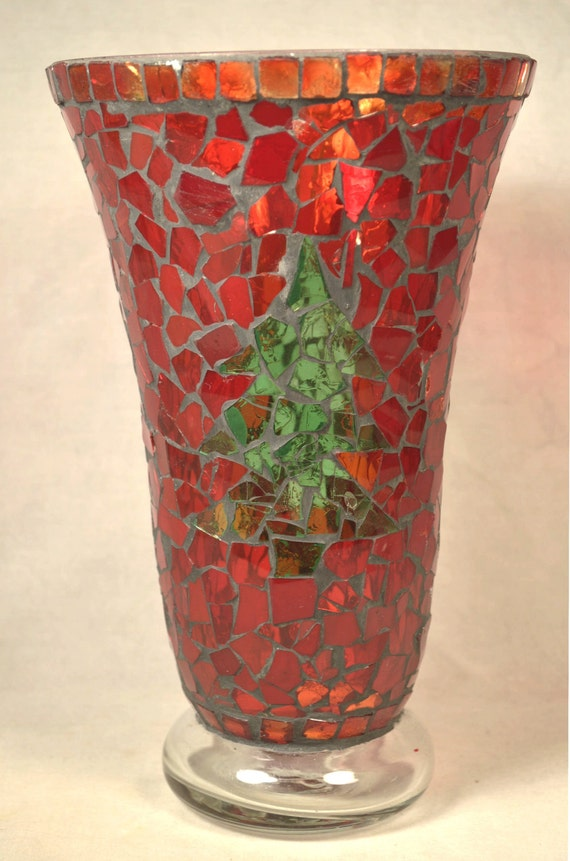 Mosaic Vase Christmas Red Glass Tile Stained Glass Vintage Etsy
