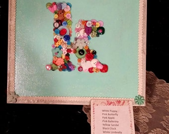 Children's Personalized Wall Art/Seek and Find Educational Development Game With Buttons and Ribbons
