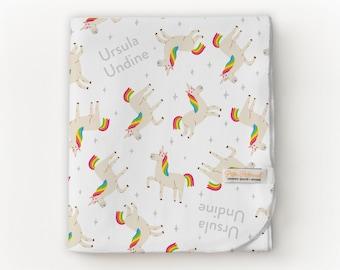 Unicorn Blanket / Unicorn - Name Blanket / Swaddle Blanket / Organic Baby Blanket / Organic Swaddle