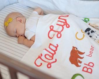 Animal Alphabet Animal Blanket - Personalized Baby Blanket - Custom Baby Name Blanket - Baby Shower Baby Gift - Custom Baby Blanket