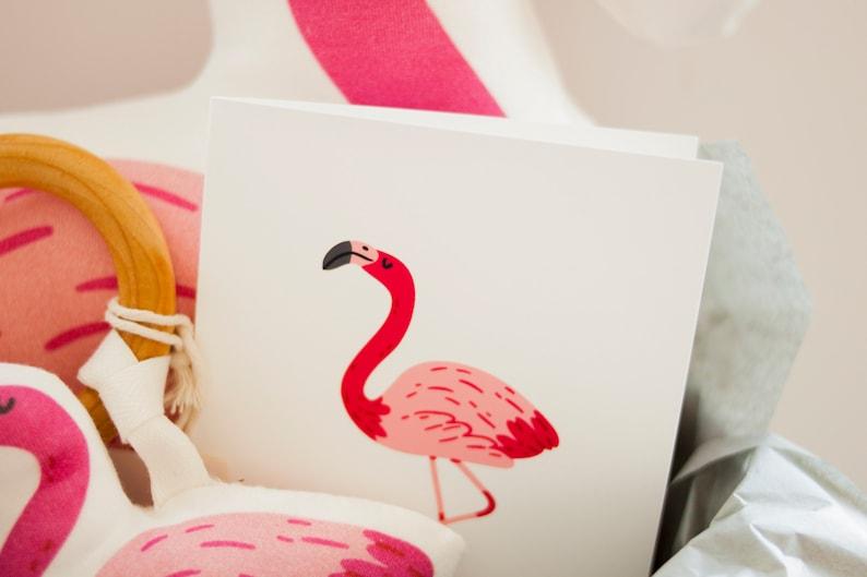 Organic Flamingo Gift Set Baby Gift  Baby Shower Gift  Baby Blanket