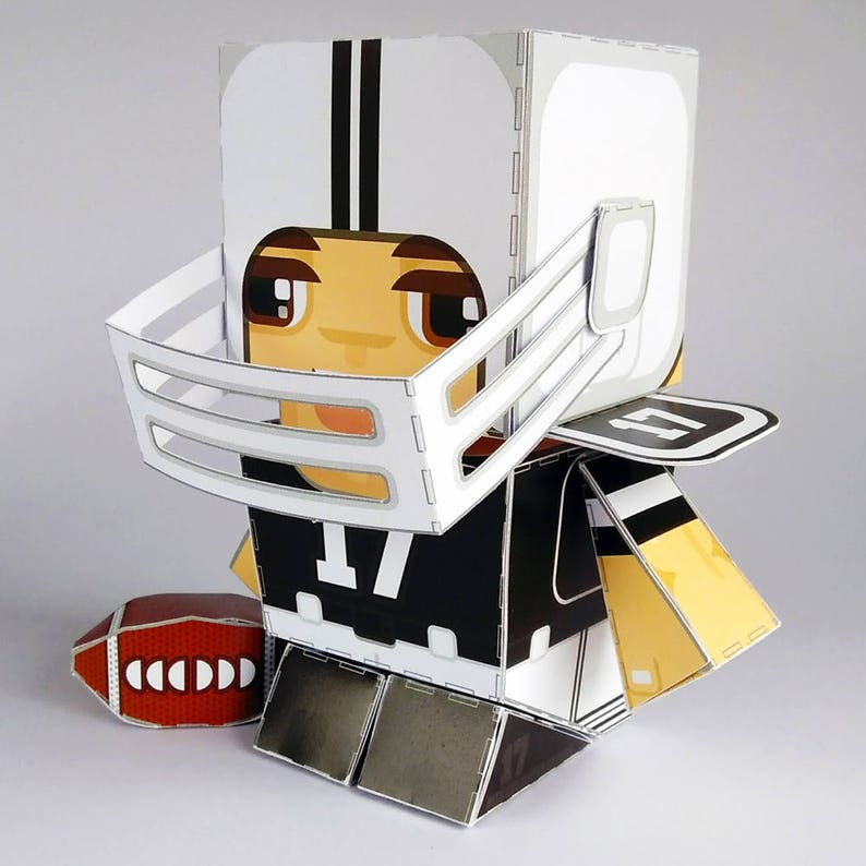 Printable Paper Craft Activity Black Footballer 80% of SALES image 0