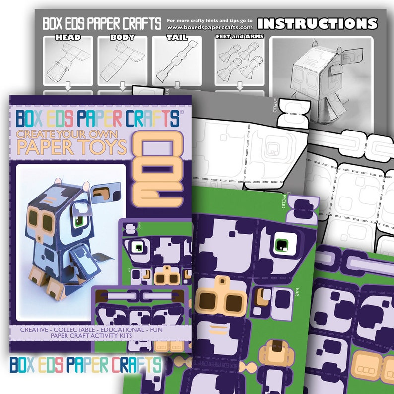 Purple Cow Paper Printable Craft Activity  80% of SALES image 0